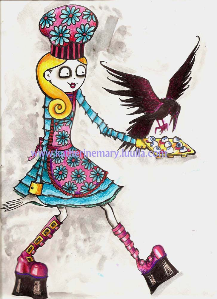 Goth Art Print 5 X 7 Creepy Weird Crazy Girl Drawing Painting Illustration Big Eye Eyeballs